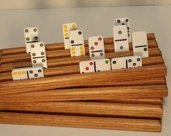 Set of 4 Red Oak Wood Domino trays / holders / racks