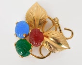 Vintage Scarab Brooch, Blue Red Green Glass Stones, Prong Set, Goldtone Metal, Leaf Accents, Unsigned, Egyptian Revival, Insect Jewelry