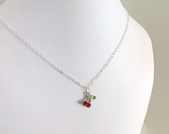 cherry necklace, sterling silver chain, minimalist fashion, layering jewelry