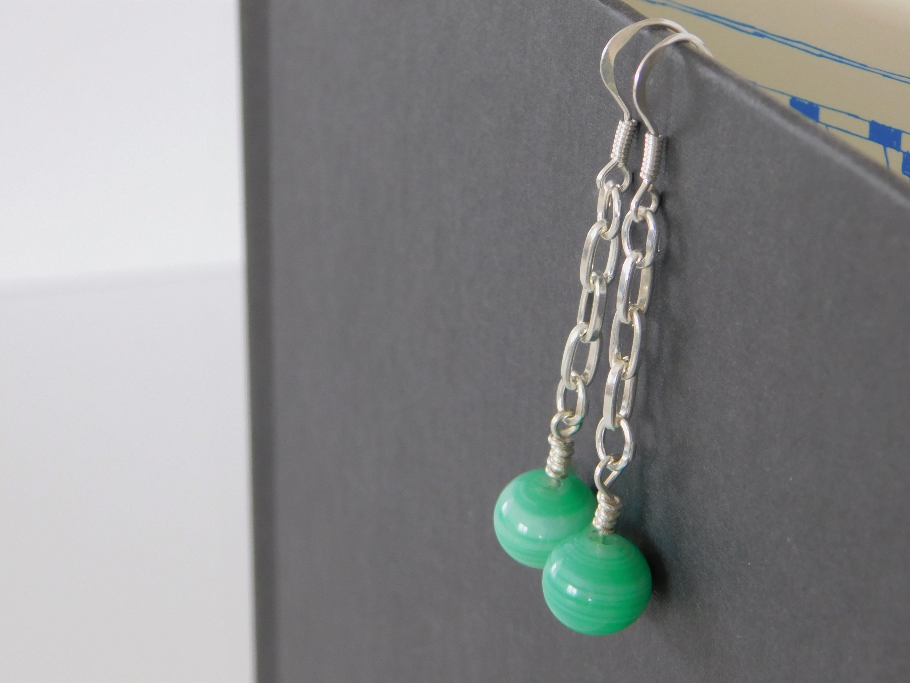 Silver Hanging Earrings With Glass Beads Rare Bead Jewelry Etsy