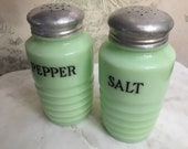 vintage Jadeite Salt and Pepper Shakers, Beehive Pattern Shakers, Jeanette Glass Salt and Pepper Shakers