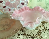 Fenton Silver Crest Pink and White Rose Bowl, ruffled fluted edging