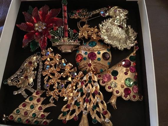 Vintage  Christmas Rhinestone Pins Lot, Christmas