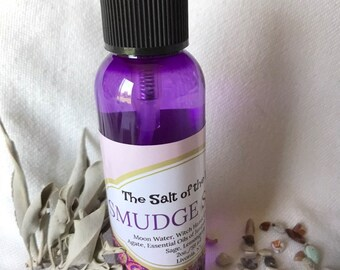 Smudge Spray - Energy Clearing - Crystal Infused Smokeless Smudge Spray - Sage - Palo Santo - Aura Cleansing- Clearing Spray