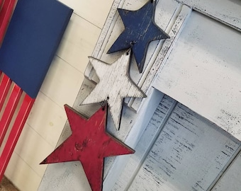 4th of July Set of 3 Hanging Stars | 4th of July Decor | Patriotic Decor | Red, White + Blue | Americana Decor | Memorial Decor