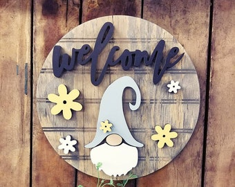 Gnome Sign | Welcome Gnome Wood Sign | 3D Door Hanger | Gnome Decor | Welcome Home | Welcome Gnome | Round Door Hanger | Round Wood Sign