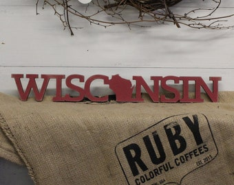 Wisconsin Block Style Wood Cutout