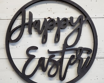 Happy Easter Circle Wood Cutout Sign | Easter Sign | Happy Easter | Wood Wall Art | Easter Decor