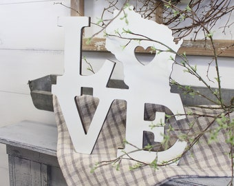 Wisconsin Sign   Wisconsin Home Sign   State of Wisconsin   Love Wisconsin   Wood Cutout   Farmhouse Decor