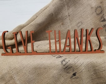 Fall Decor | Farmhouse Fall Sign | Autumn Decor | Give Thanks Sign | Autumn Sign | Fall Favorites | Thanksgiving Sign