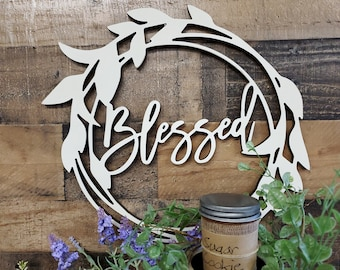 Blessed Sign   Wreath   Blessed Welcome Faith He Is Risen Decor   Wreath Decor   Wood Wreath   Wood Decor   Wood Sign