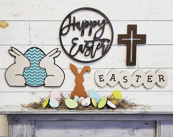 Wooden Cross | Faith Sign | Religious Sign | Easter Sign | He is Risen | Wood Wall Art | Easter Decor | Religious Decor