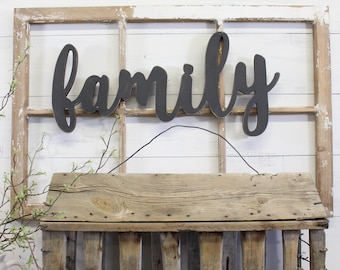 Family Cutout Sign   Family Sign   Wood Cutout   Wood Sign   Script Cutout   Family Wall Art   Everyday Decor   Gallery Wall Sign
