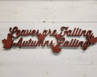 Fall Decor | Farmhouse Fall Sign | Fall Leaves Sign | Autumn Decor | Autumn Sign | Autumn Leaves