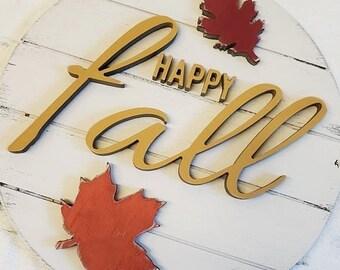 Happy Fall Door Hanger | Fall Sign | 3D Door Hanger | 3D Sign | Shiplap Wood Sign | Front Door Decor