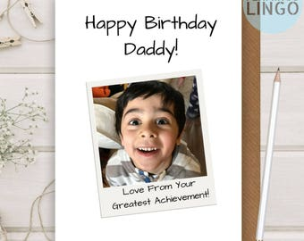 Daddy Father Dad Photo Personalised Funny Birthday Greeting Card A5 Him Custom Flamingo Lingo (bp34a)