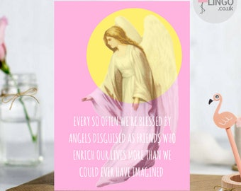 Touching Friends Angels Thank You Thanks / birthday Greetings A5 Card  Him Her personalise me! By Flamingo Lingo  (TH5)
