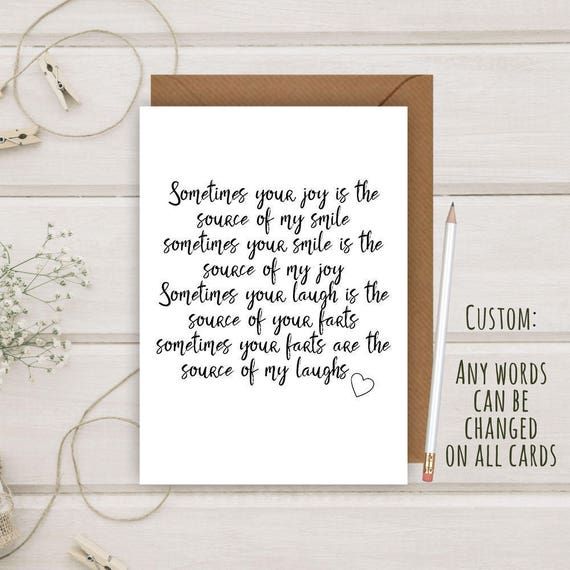 Funny Rude Fart Poem Birthday Greeting Card For Wife Husband