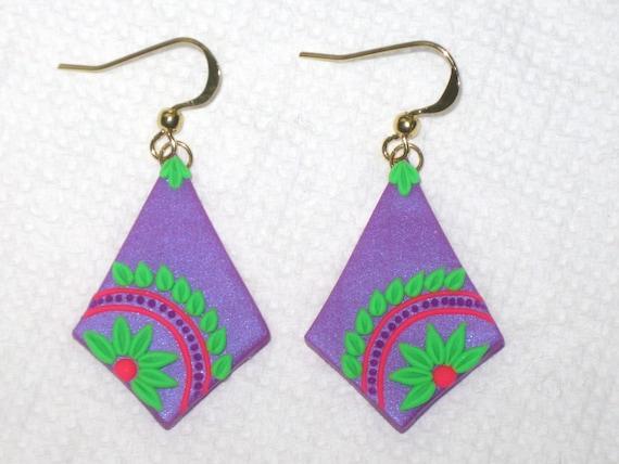 Neon flower earringsflower applique clay earringsflower etsy