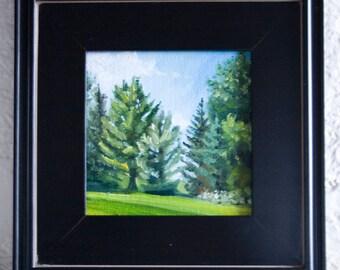 Peinture à l'huile d'été pins - 6x6in - Nicole Blackburn