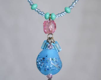 Blue and Pink Beaded Dainty Necklace