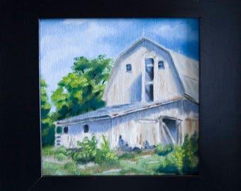 Derrière la grange - 6x6in - huile sur toile de Nicole Blackburn