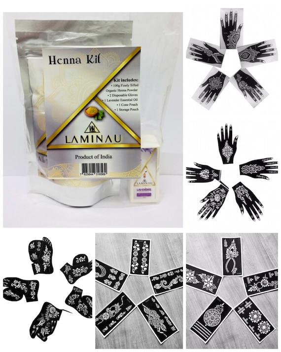 Henna Tattoo Kit 5pk Stencils Ready Made Henna Cone Pack Etsy