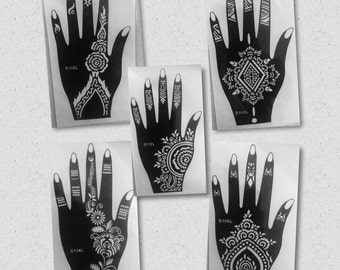 RIGHT HAND SIMPLY 5pc Henna stencil as seen in Vogue