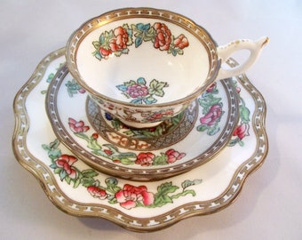 Coalport Indian Tree vintage bone china tea cup, saucer and small plate