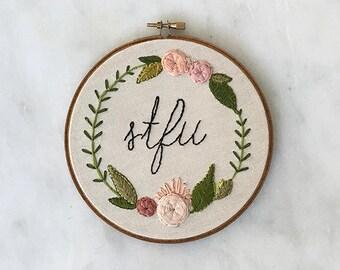 Stfu Funny Embroidery