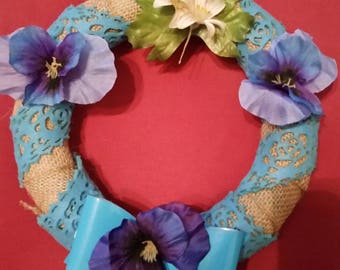 Blue pansy wreath