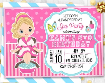 aa37f64d9 Spa party invitation Spa invitation Pajamas party invitation Birthday card  Spa birthday card Victoria Secret inspired Sleepover invitation