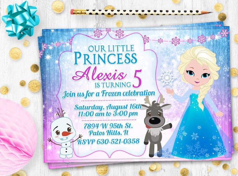 Frozen Birthday Invitation Card Pink Elsa