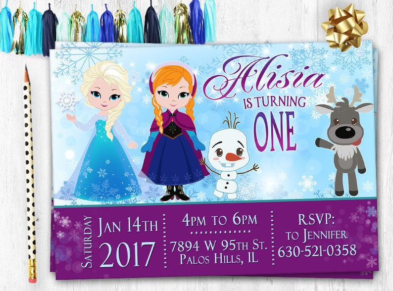 Frozen Invitation Birthday Card Elsa