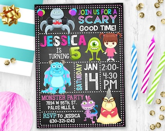 Monster Invitation, Monster Birthday Invitation, Monster Inc Invitation , Monster inc birthday card