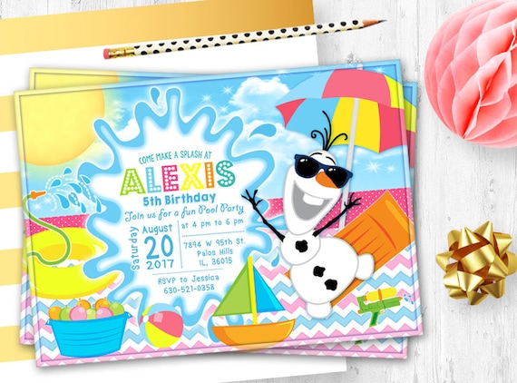 Frozen Olaf Birthday Pool Party Invitation Birthday Card