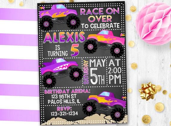 Pink Monster Truck Birthday Invitation Girl Monster Truck Etsy