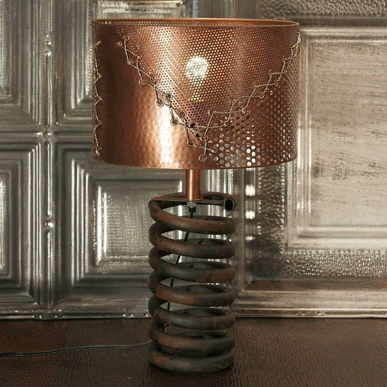 Coil Lamp with COPPER SHADE Truck Spring Steampunk Industrial Lamp Metal Lamp Metal Shade Table Lamp Lighting
