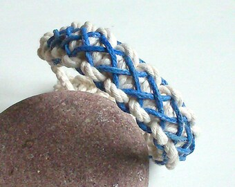 Navy off white and blue bracelet unisex.