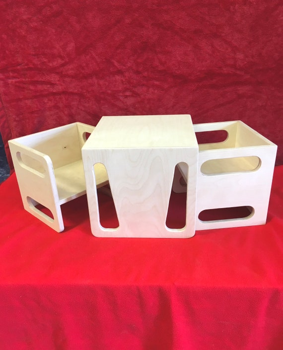 Montessori Cube Chair And Table Set 2 Cube Chairs And 1 Etsy
