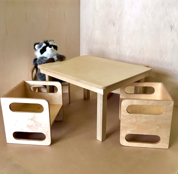 Montessori 4 Cube Chairs And Table Set Weaning 5 Piece Cube Etsy
