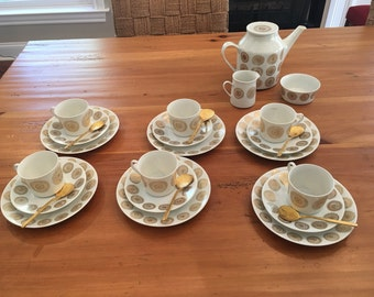 Vintage Danish porsgrund porcelain 27 piece gold accented tea set  with gold spooons