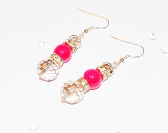 Pink and Grey Sparkly Earrings