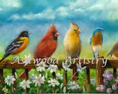 Bird print, cardinal, bird art songbirds, bird painting cardinal, bird print robin, robin, bluebird, oriole bird print, Mother's Day