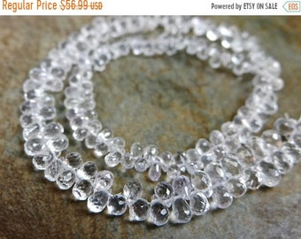 54% Off Sale AAA White Sapphire faceted teardrop briolettes/3x2-5x3mm/3.5 inch strand