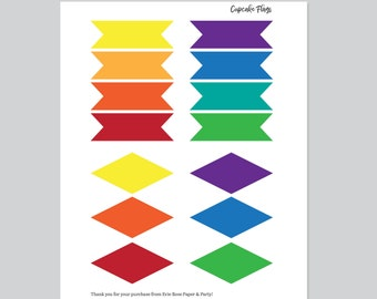 Rainbow Printable Cupcake Toppers And Straw Flags