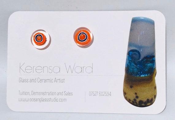 Handmade Glass Stud Earrings beautiful orange, white and blue target shapes under a clear lens murrini italian SRA J57 Lampwork mod