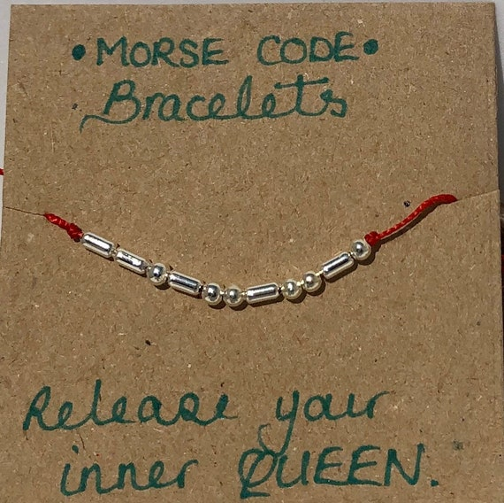 Handmade MORSE-Code bracelet. Queen. Fully adjustable. Silver plated beads on bright red coloured beadalon thread SRA J57