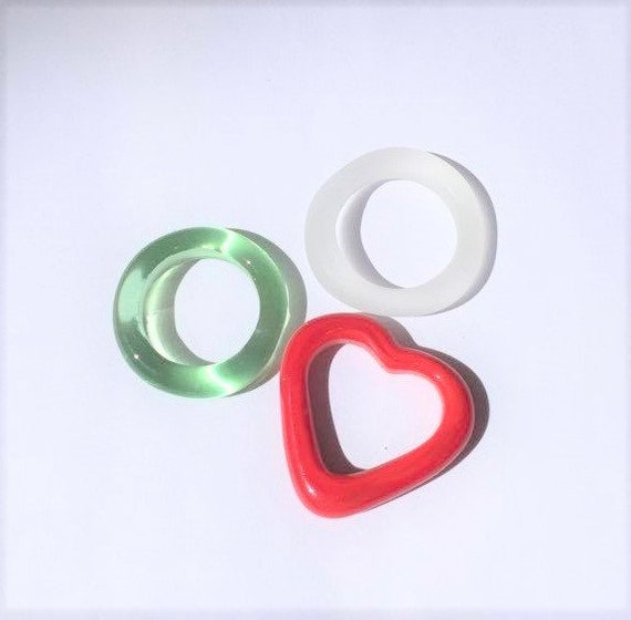Colourful Spring Easter glass hoops and heart links Mothers Day Gift pretty pastels SRA J57 Red Clear Pale green Sea Glass