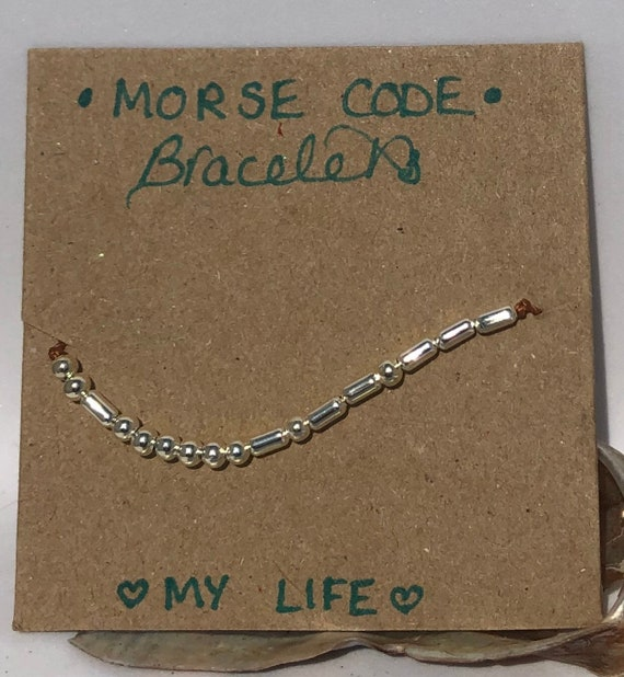 Handmade MORSE-Code bracelet. My Life. Fully adjustable. Silver plated beads on copper coloured cord SRA J57